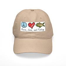 Peace, Love, Fishing Baseball Baseball Cap
