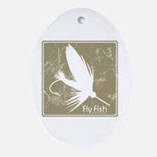 Fly Fishing Lure Oval Ornament