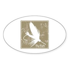 Fly Fishing Lure Oval Decal