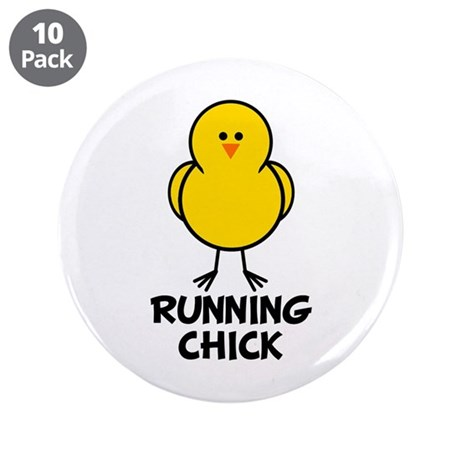 """Running Chick 3.5"""" Button (10 pack)"""