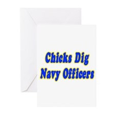"""Chicks Dig Navy Officers"" Greeting Cards (Pk of 1"
