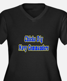 """Chicks Dig Navy Commanders"" Women's Plus Size V-N"