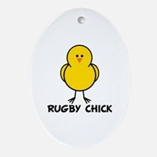 Rugby Chick Oval Ornament