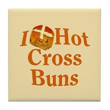 I Love Hot Cross Buns Tile Coaster