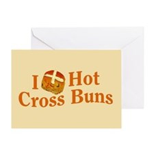 I Love Hot Cross Buns Greeting Card