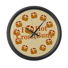 I Love Hot Cross Buns Large Wall Clock