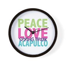 Peace Love Spring Break Acapulco Wall Clock