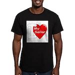 I Love My Sailor. Men's Fitted T-Shirt (dark)