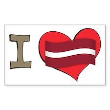 I heart Latvia Rectangle Decal