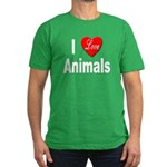 I Love Animals for Animal Lov Men's Fitted T-Shirt