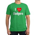 I Love Badgers Men's Fitted T-Shirt (dark)