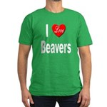 I Love Beavers Men's Fitted T-Shirt (dark)