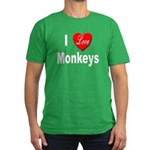 I Love Monkeys Men's Fitted T-Shirt (dark)