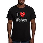 I Love Wolves Men's Fitted T-Shirt (dark)