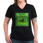 Kiss Me I'm Irish Women's V-Neck Dark T-Shirt