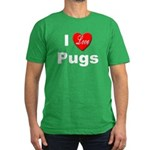 I Love Pugs Men's Fitted T-Shirt (dark)