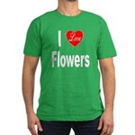 I Love Flowers Men's Fitted T-Shirt (dark)