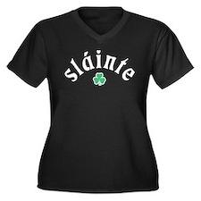 Slainte [shamrock] Women's Plus Size V-Neck Dark T