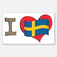 I heart Sweden Rectangle Decal