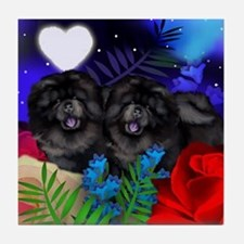 BLACK CHOW CHOW DOGS LOVE HEART Tile Coaster
