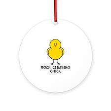 Rock Climbing Chick Ornament (Round)