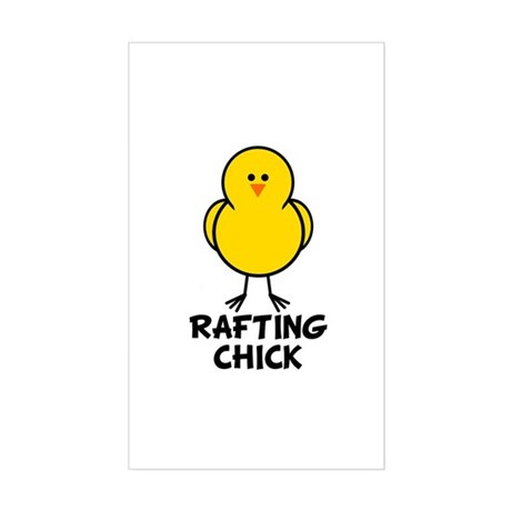 Rafting Chick Rectangle Sticker