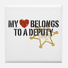 My Heart Belongs to a Deputy Tile Coaster