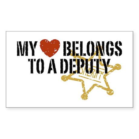 My Heart Belongs to a Deputy Rectangle Sticker