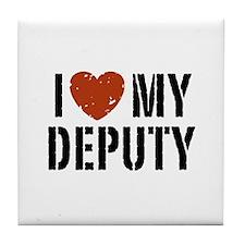 I Love My Deputy Tile Coaster