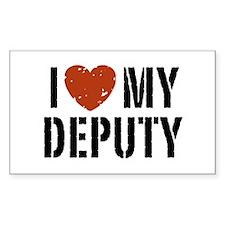 I Love My Deputy Rectangle Decal