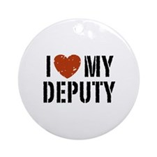I Love My Deputy Ornament (Round)