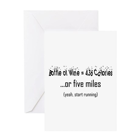 Bottle of Wine = 5 Miles Greeting Card