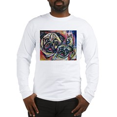 Smiling Pugs Abstract paintin Long Sleeve T-Shirt