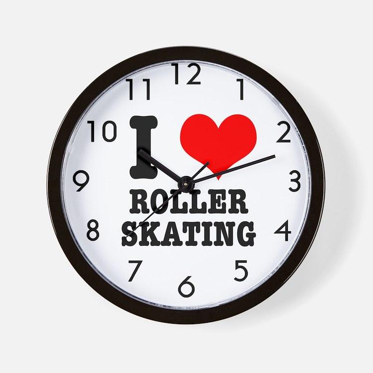 I Heart (Love) Roller Skating Wall Clock
