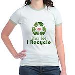 Kiss Me I Recyle Jr. Ringer T-Shirt