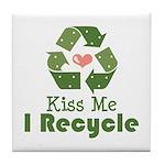 Kiss Me I Recyle Tile Coaster