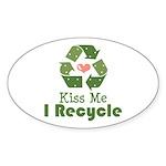 Kiss Me I Recyle Oval Sticker (50 pk)