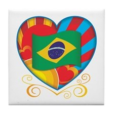 Brazillian Heart Tile Coaster