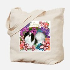 JAPANESE CHIN DOG GARDEN FLOWERS Tote Bag
