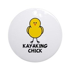 Kayaking Chick Ornament (Round)