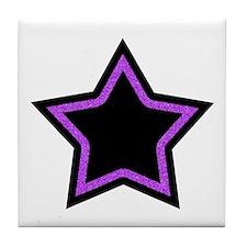 Black Glitter Star Tile Coaster