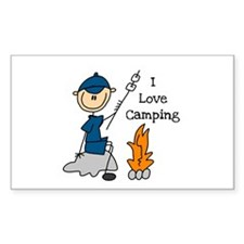 I Love Camping Rectangle Sticker 10 pk)