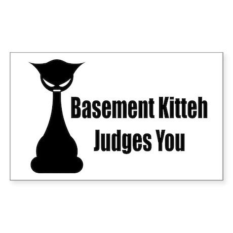 Basement Kitteh Judges You Rectangle Sticker