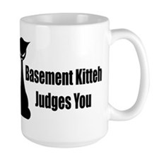 Basement Kitteh Judges You Coffee Mug