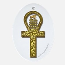 Golden Ankh Oval Ornament