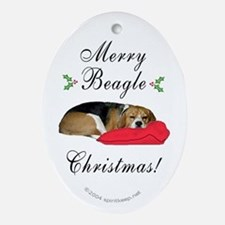 Merry Beagle Christmas Oval Ornament
