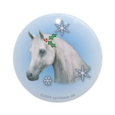 Horse w/Holly Christmas Ornament (Round)
