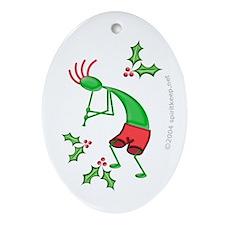Kokopelli w/ Holly Christmas Oval Ornament