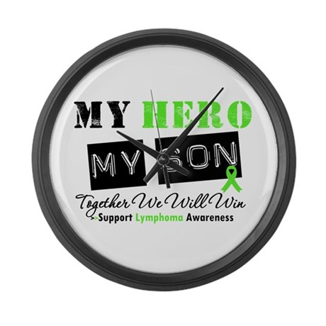 Lymphoma Hero Son Large Wall Clock