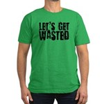 Let's Get Wasted Men's Fitted Green T-Shirt